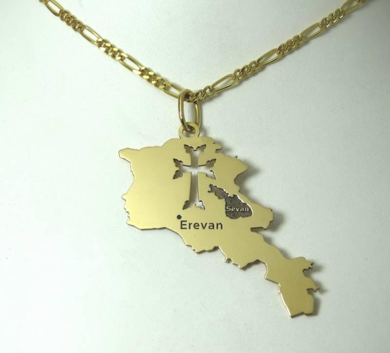 Carte de l'Arménie grand modèle, or rose 18 carats.
