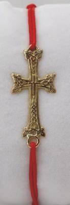 Croix Arménienne en or rose 18 carats sur cordon rouge