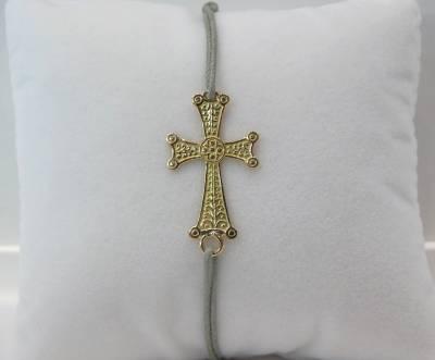 Bijou arménien monté sur cordon gris. Croix or rose 18 carats.