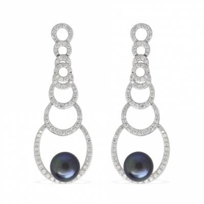 Boucles d'oreilles modernes en argent, zircons et perle