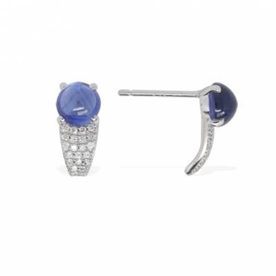 Boucles d'oreilles tendance en argent, zircons et pierre bleue