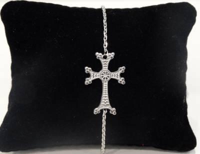 bracelet chaînette croix arménienne en or blanc 18 carats 750/1000
