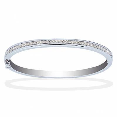 Bracelet jonc ouvrant tendance en argent et zircons
