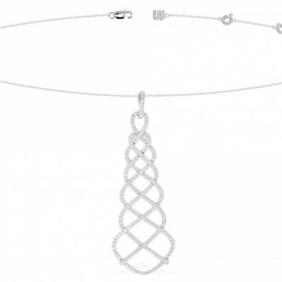 Collier moderne en argent et zircons