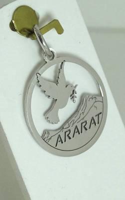 Médaille du Mont Ararat et colombe en or blanc 18 carats,1.36 gramme.